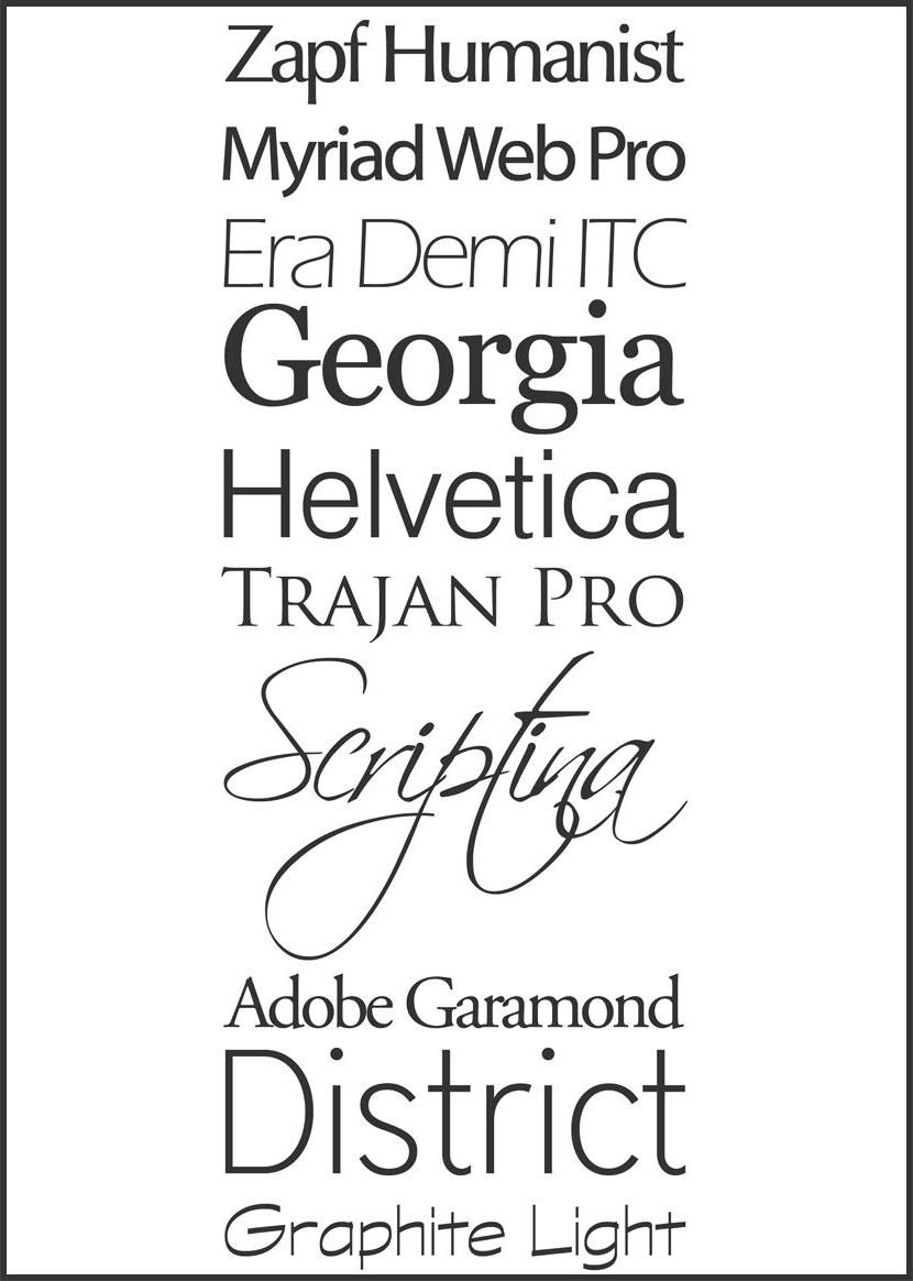 Zapf Humanist, Era Demi, Trajan, Helvetica, Scriptina, Graphite Light