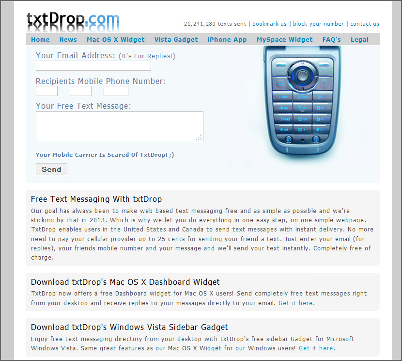 Send and receive sms text message from computer to mobile phone