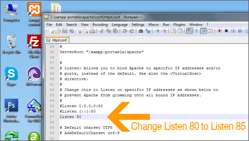 XAMPP Apache Won't Start - Change Port To Listen 85