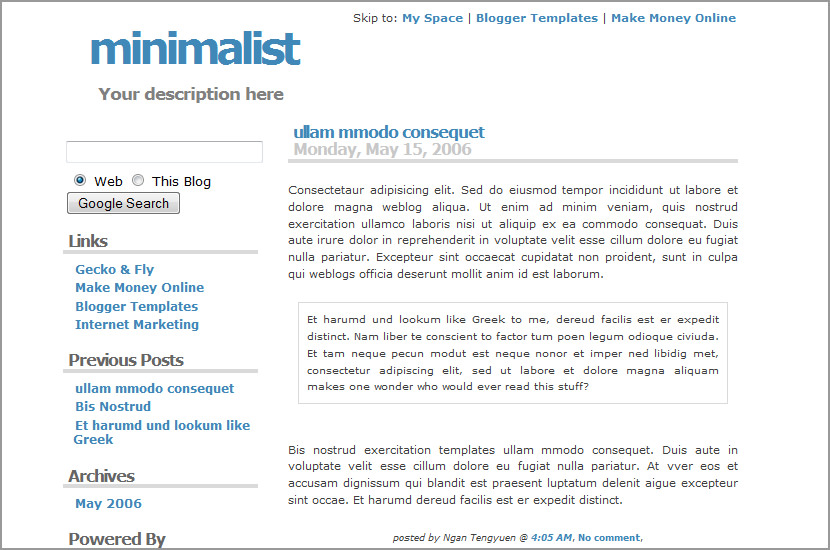 minimalist google blog blogspot
