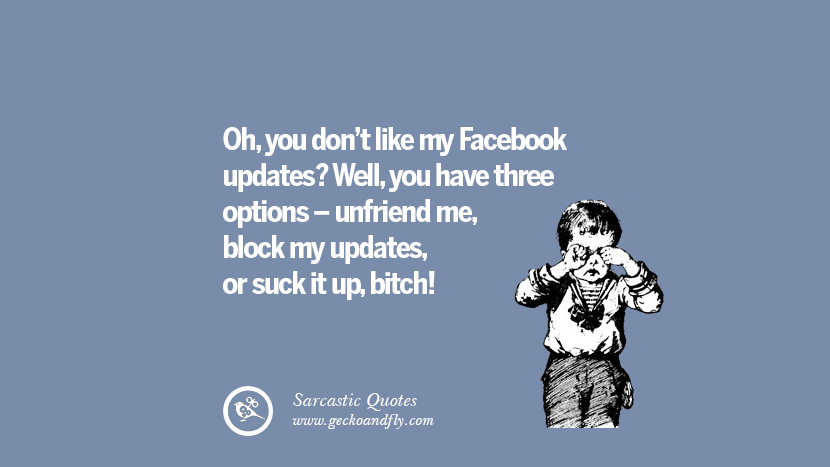 Oh, you don't like my Facebook updates? Well, you have three options - unfriend me, block my updates, or suck it up, bitch! Unfriend A Friend on Facebook