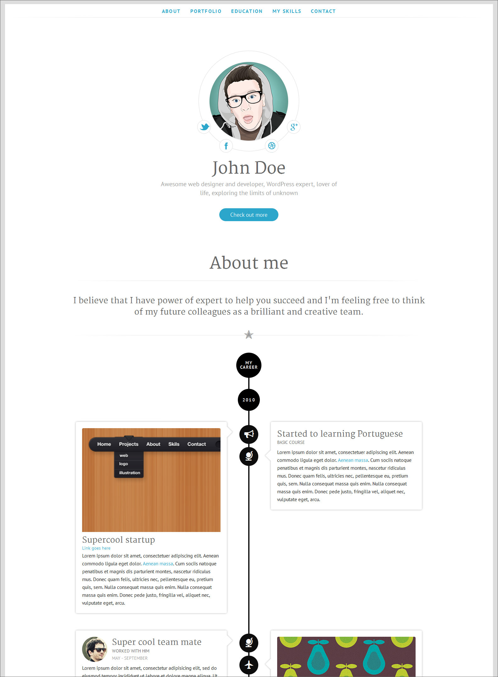 long white minimalist digital cv