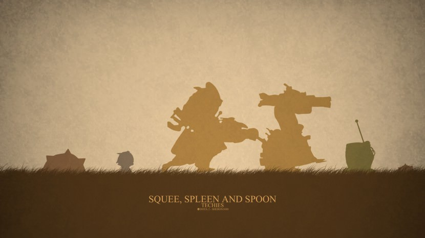 Techies Squee, Speen, and Spoon download dota 2 heroes minimalist silhouette HD wallpaper