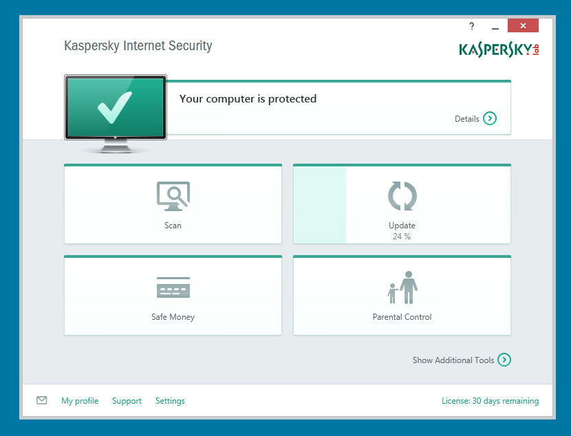 Kaspersky Internet Security 2015 I really love the clean user interface. Scan, Update, Safe Money (Online Banking) and Parental Control.