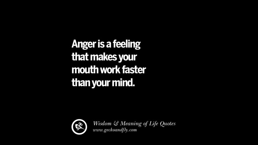 Anger is a feeling that makes your mouth work faster than your mind. funny wise quotes about life tumblr instagram wisdom Funny Eye Opening Quotes About Wisdom And Life twitter reddit facebook pinterest tumblr
