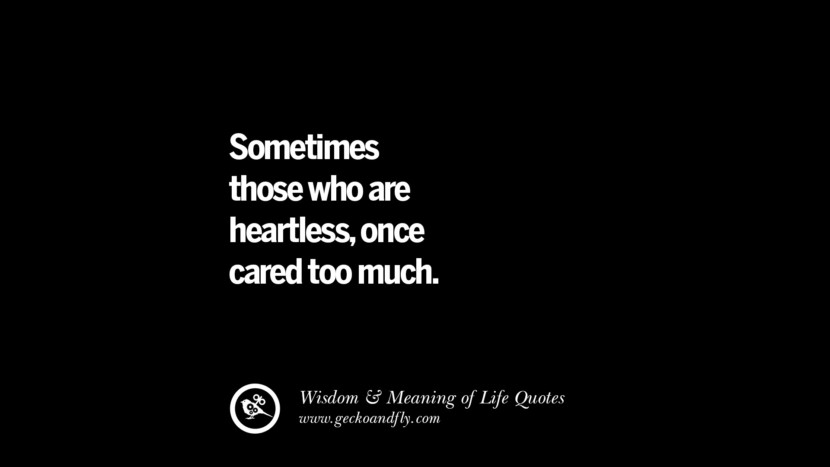 Sometimes those who are heartless, once cared too much.