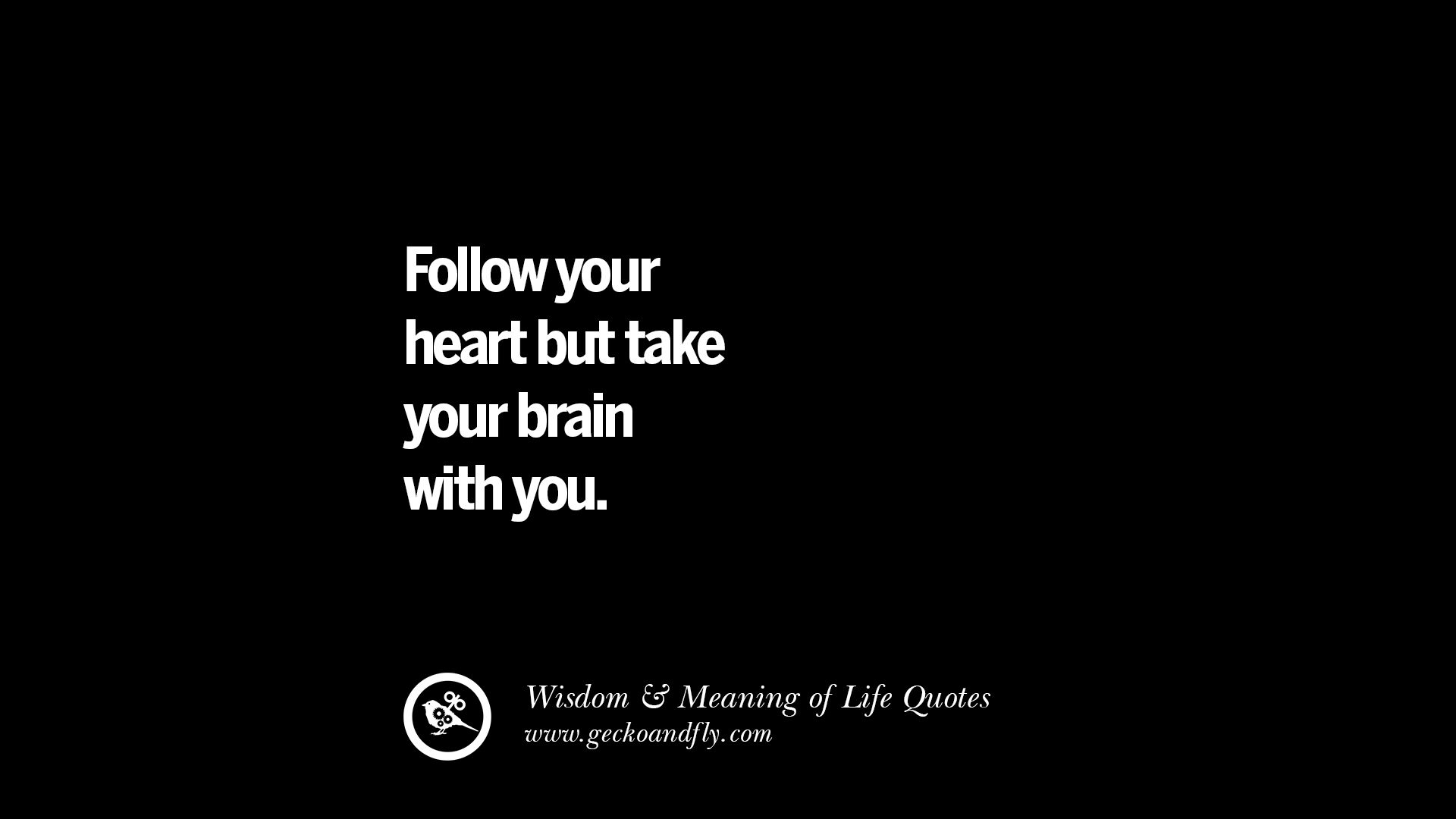 Short Wise Sayings : Follow your heart but take your brain with you. funny wise quotes ...