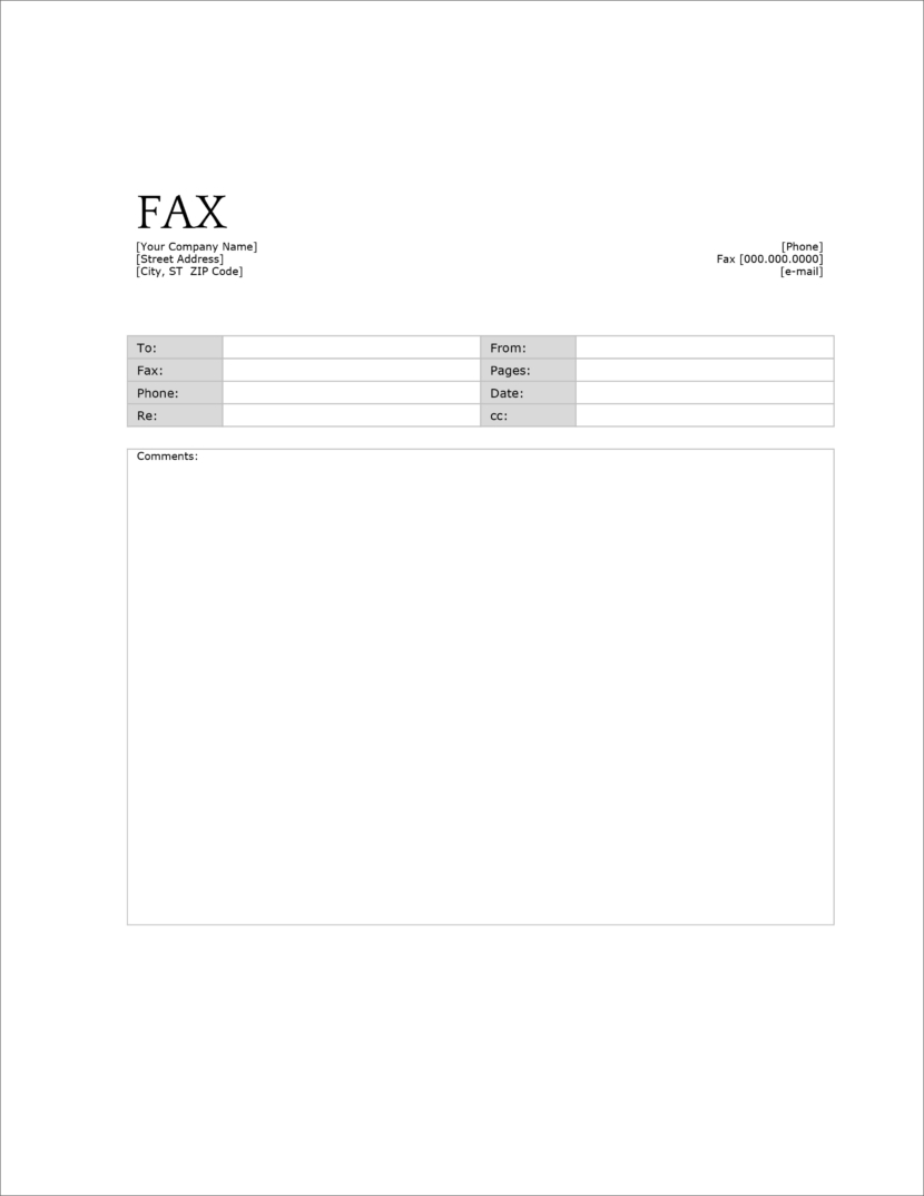 Screenshot of fax cover template in Microsoft Docx format