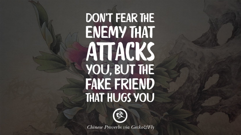 Don't fear the enemy that attacks you, but the fake friend that hugs you. Ancient Chinese Proverbs and Quotes on Love, Life, Wisdom, Knowledge and Success