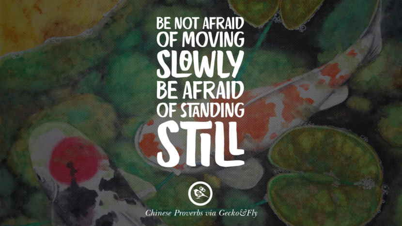Do not afraid of moving slowly. Be afraid of standing still. Ancient Chinese Proverbs and Quotes on Love, Life, Wisdom, Knowledge and Success