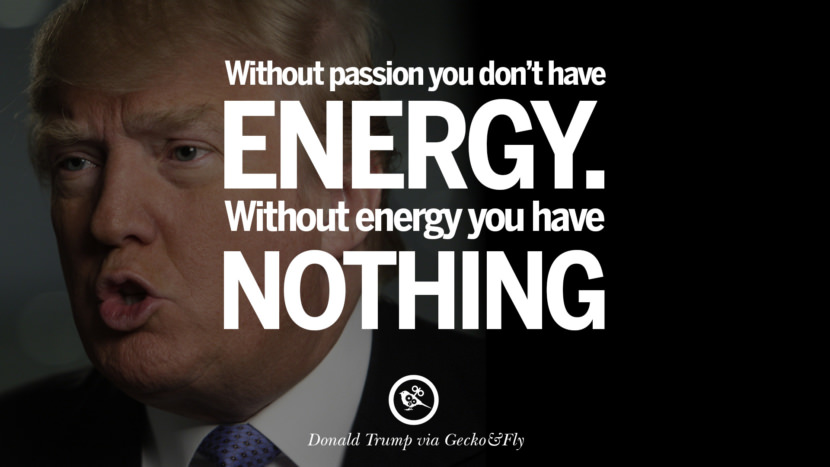 Without passion you don't have energy. Without energy you have nothing. - Donald Trump Amazing President Donald Trump Quotes on Success, Failure, Wealth and Entrepreneurship