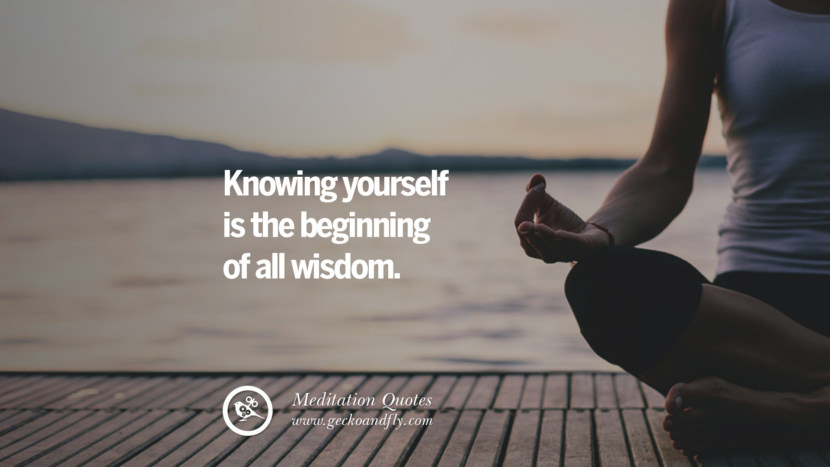 Knowing yourself is the beginning of all wisdom. facebook instagram twitter tumblr pinterest poster wallpaper free guided mindfulness buddhist meditation for yoga sleeping relaxing