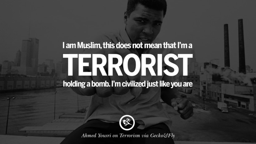 I am a Muslim, this does not mean that I'm a terrorist holding a bomb. I'm civilized just like you are. - Ahmed Yousri