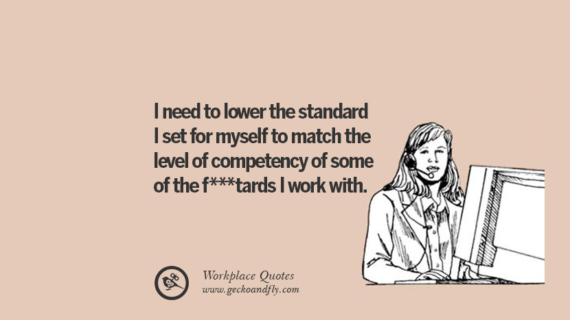 I need to lower the standard I set for myself to match the level of competency of some of the fucktards I work with. Quotes Workplace Boss Colleague Annoying Office