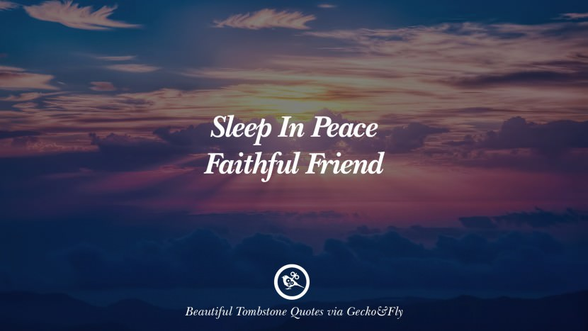 Sleep in peace faithful friend. Beautiful Tombstone Quotes For Your Beloved Cat or Dog