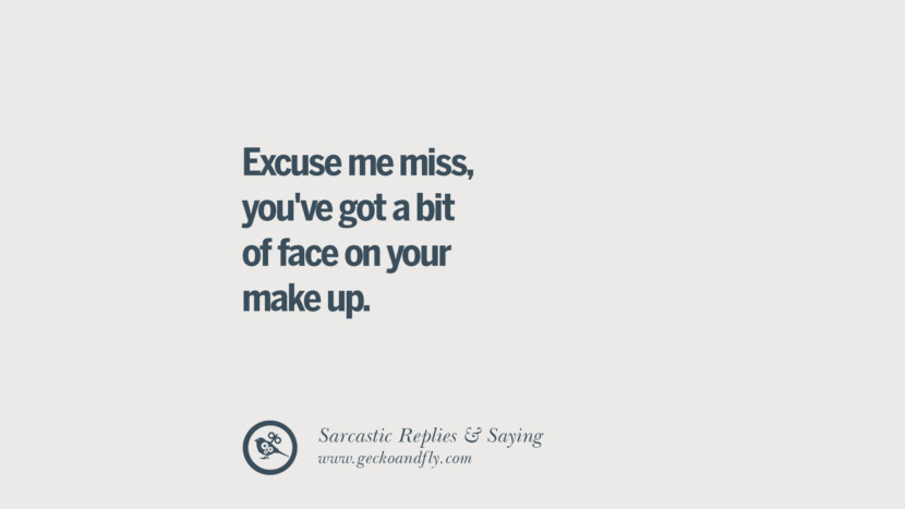 Excuse me miss, you've got a bit of face on your make up. Funny Non-Swearing Insults And Sarcastic Quotes for fake friends, ex bf, ex gf, boyfriend, girlfriend, enemies and haters facebook twitter pinterest
