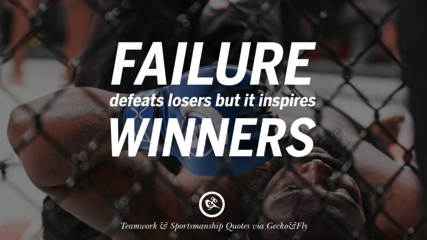 Failure defeats losers but it inspires winners. Quotes Sportsmanship Teamwork Sports Soccer Fifa Football Cricket NBA Basketball Hockey Tennis Volleyball Table Tennis Baseball Rugby American Football Golf facebook twitter pinterest team work sports saying live online olympics games teamwork quotes inspirational motivational