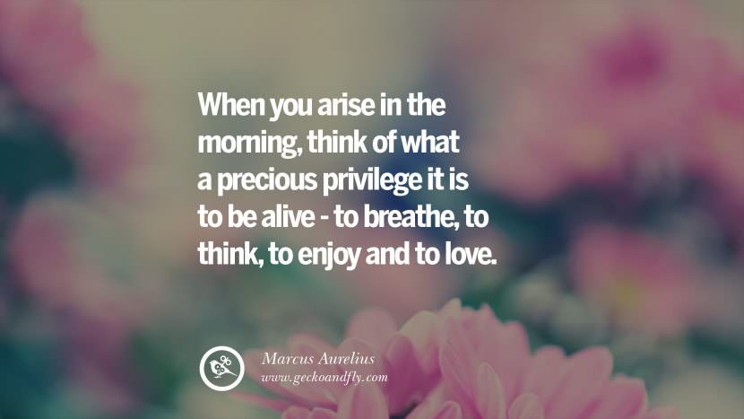 When you arise in the morning, think of what a precious privilege it is to be alive - to breathe, to think, to enjoy and to love. - Marcus Aurelius Uplifting Inspirational Quotes When You Are About To Give Up success failure