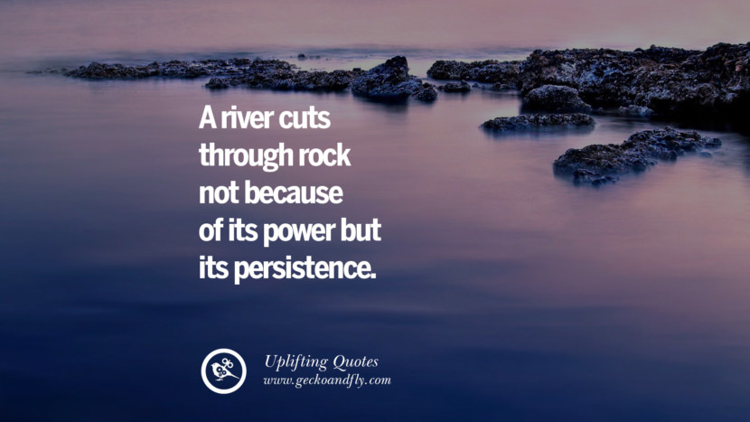 A river cuts through rock not because of its power but its persistence.