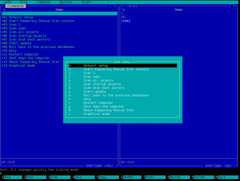Offline antivirus tool Kaspersky Rescue Disk Text mode