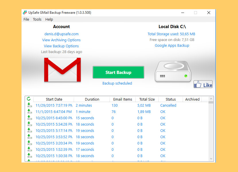 upsafe gmail backup free email backup software hosted email archiving solutions offsite data backup