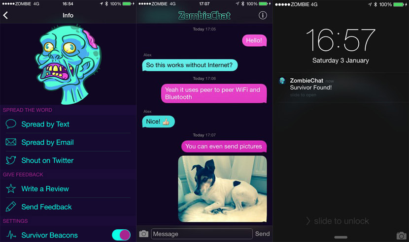 zombiechat App To Chat And Text With No Internet Connection Via Mesh Network without