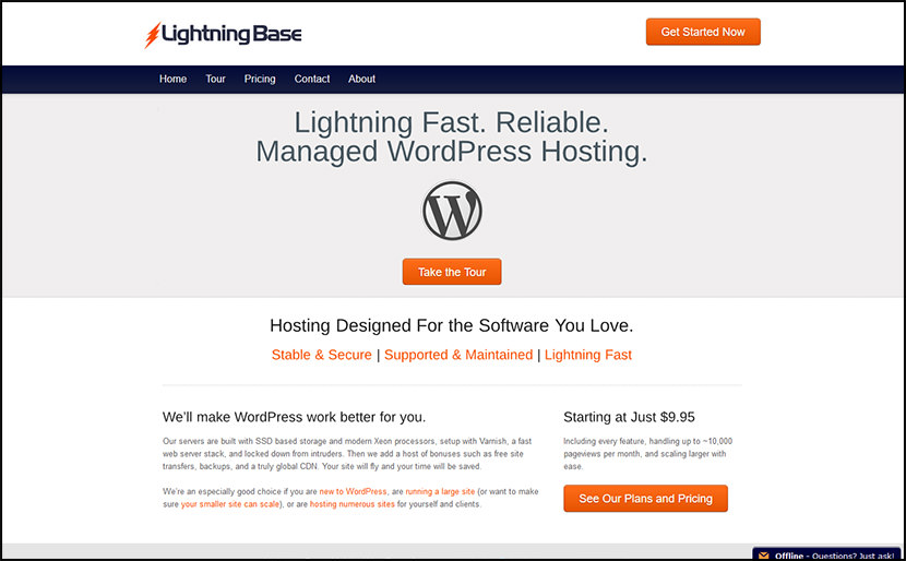 lightining base best web hosting for wordpress