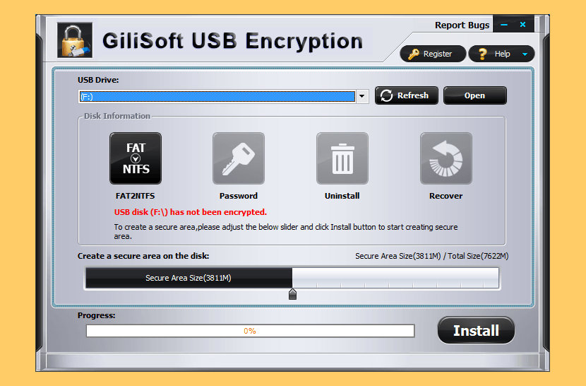 GiliSoft USB Encryption Portable USB Flash Drive Encryption - Unhackable Military 256-Bit Keys