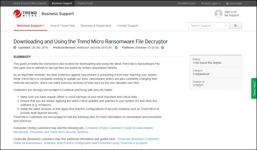 Trend Micro Ransomware File Decryptor