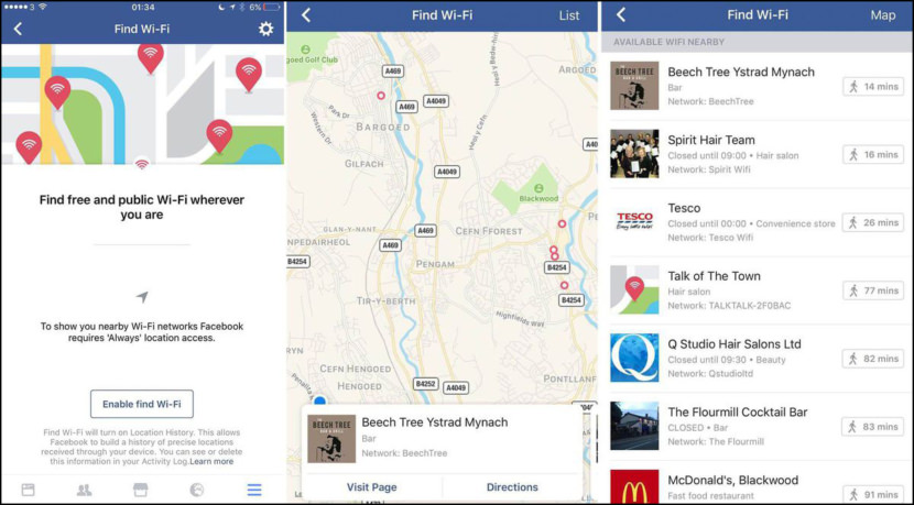 Facebook WiFi locator