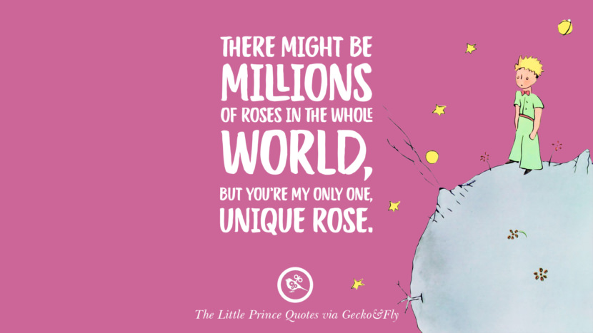 There might be millions of roses in the whole world, but you're my only one, unique rose. Quotes By The Little Prince On Life Lesson, True Love, And Responsibilities