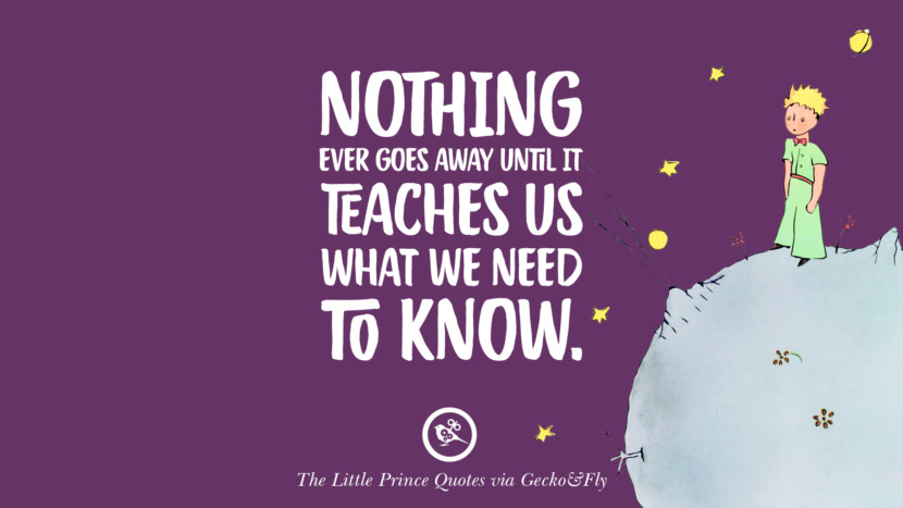 Nothing ever goes away until it teaches us what we need to know. Quotes By The Little Prince On Life Lesson, True Love, And Responsibilities