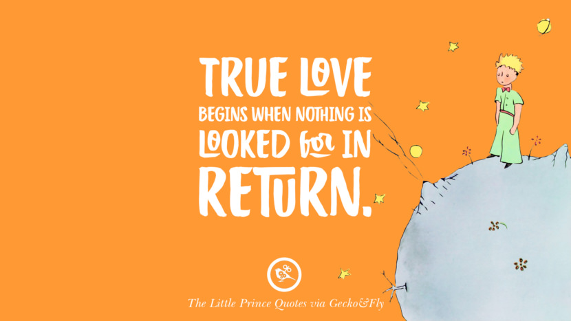 True love begins when nothing is looked for in return. Quote By The Little Prince