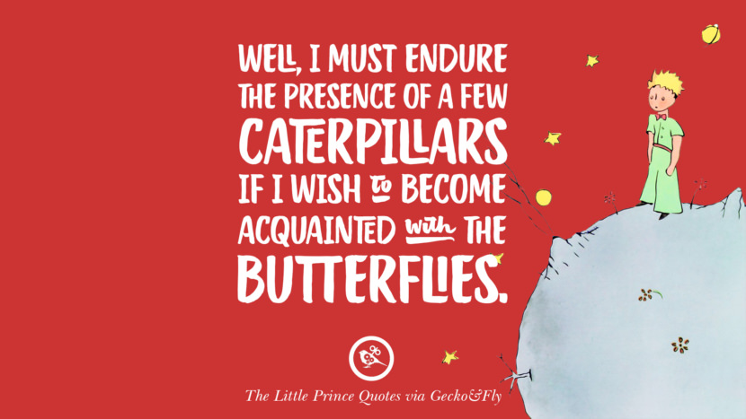 Well, I must endure the presence of a few caterpillars if I wish to become acquainted with the butterflies. Quote By The Little Prince