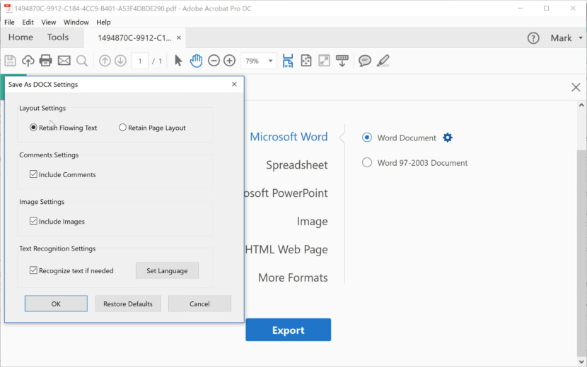 Adobe's PDF to Word converter