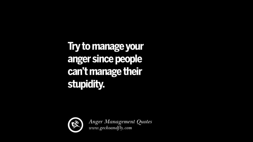 Try to manage your anger since people can't manage their stupidity. Quotes On Anger Management, Controlling Anger, And Relieving Stress