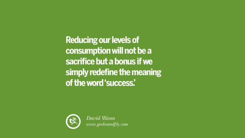 Reducing our levels of consumption will not be a sacrifice but a bonus if we simply redefine the meaning of the word 'success.' – David Wann Sustainability Quotes On Recycling, Energy, Ecology, And Biodiversity