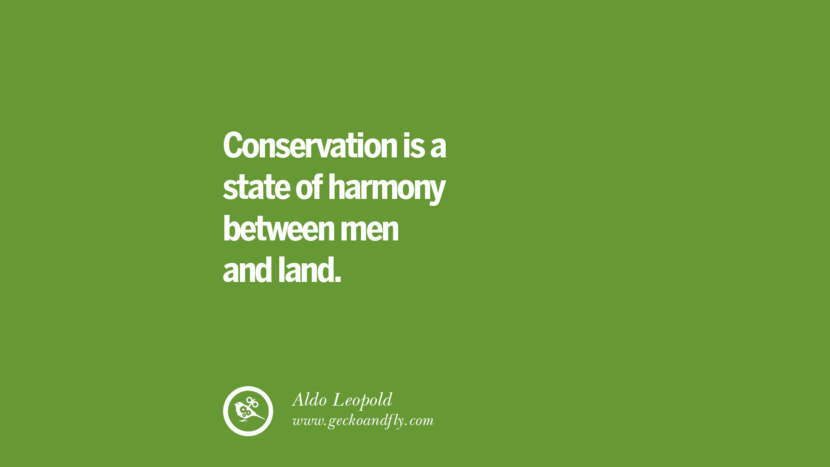 Conservation is a state of harmony between men and land. – Aldo Leopold