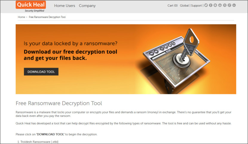 QuickHeal Ransomware Decryption Tool