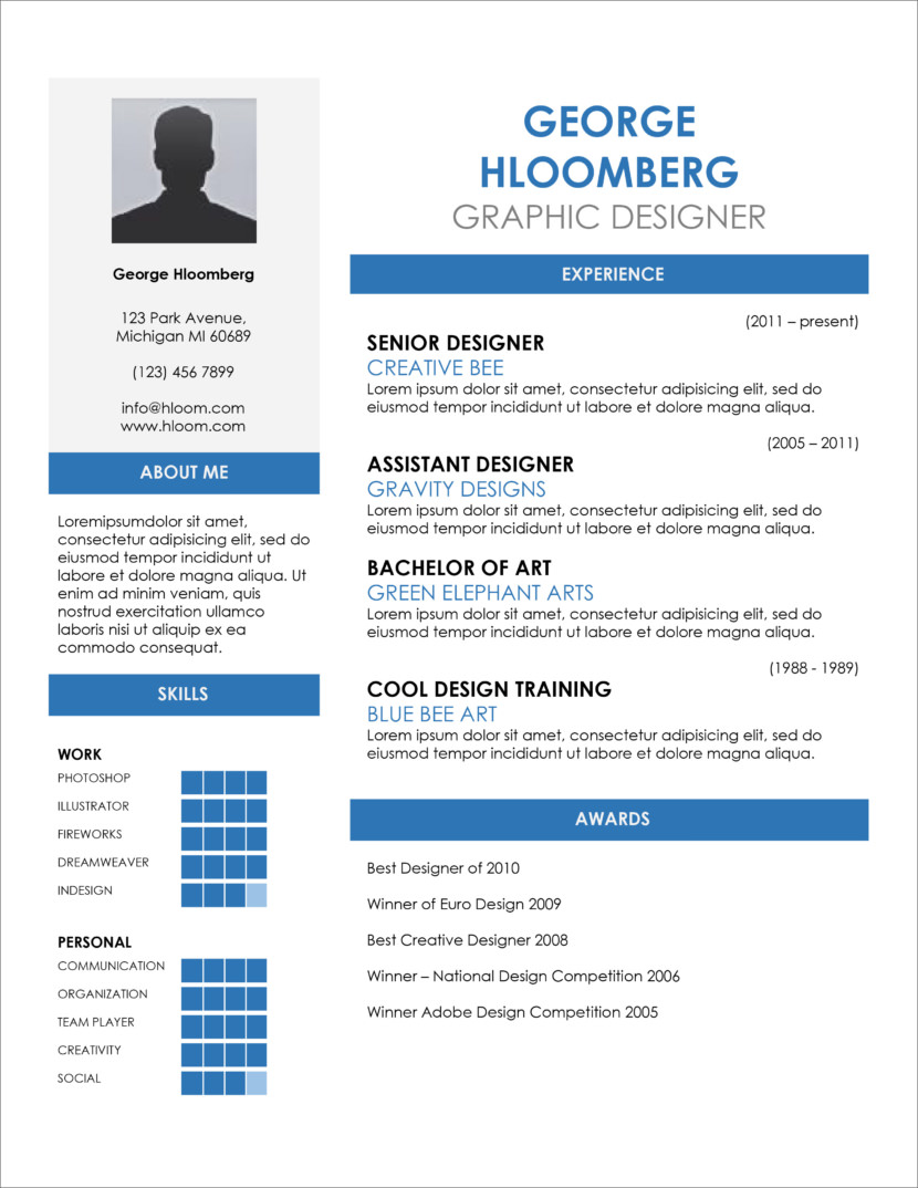 Free Resume And CV Templates In Microsoft Office DocX And Google Docs