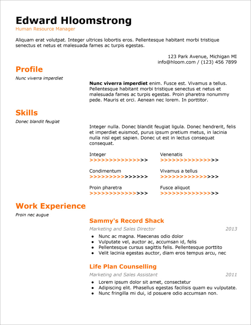 45 Free Modern Resume Cv Templates Minimalist Simple Clean