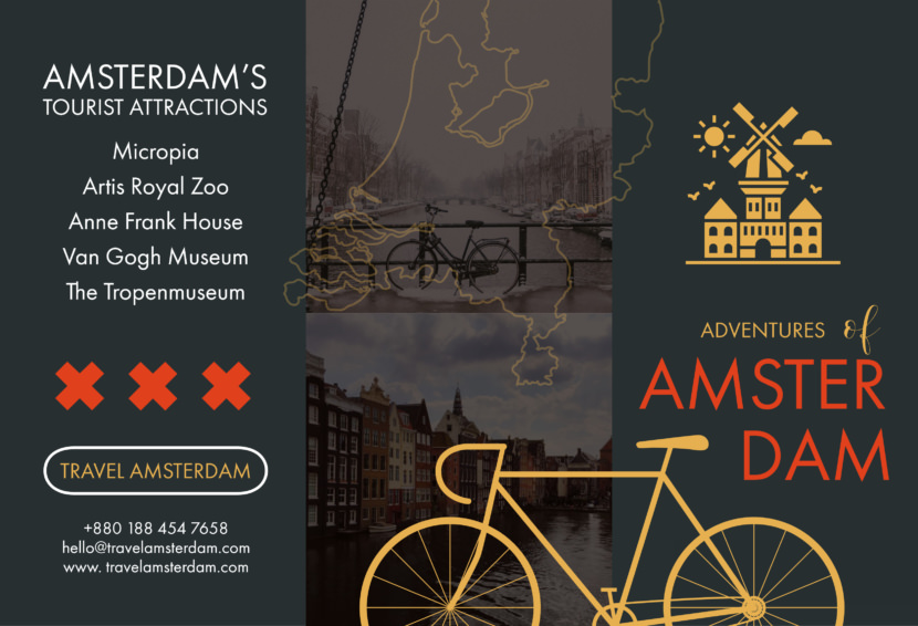 amsterdam europe travel Free Editable Professional Brochure Templates