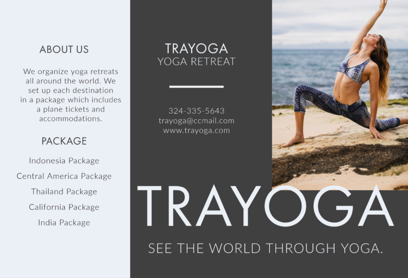 yoga meditation relaxing travel Free Editable Professional Brochure Templates