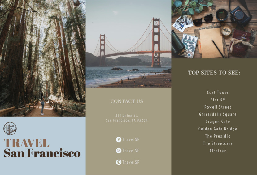 san francisco travel tour Free Editable Professional Brochure Templates