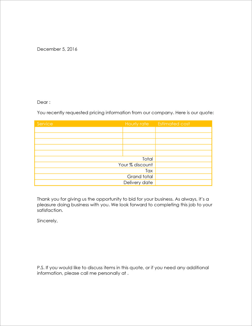 Microsoft word doc docx  Free Templates For Price Estimations, Service Bids, And Sales Quotations