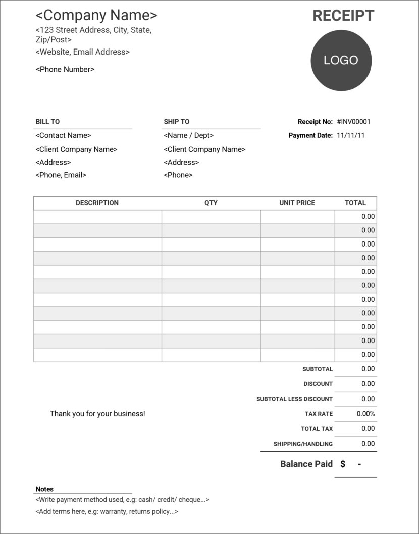 Screenshot of receipt template in Google Sheet, available online and downloadable in Excel format