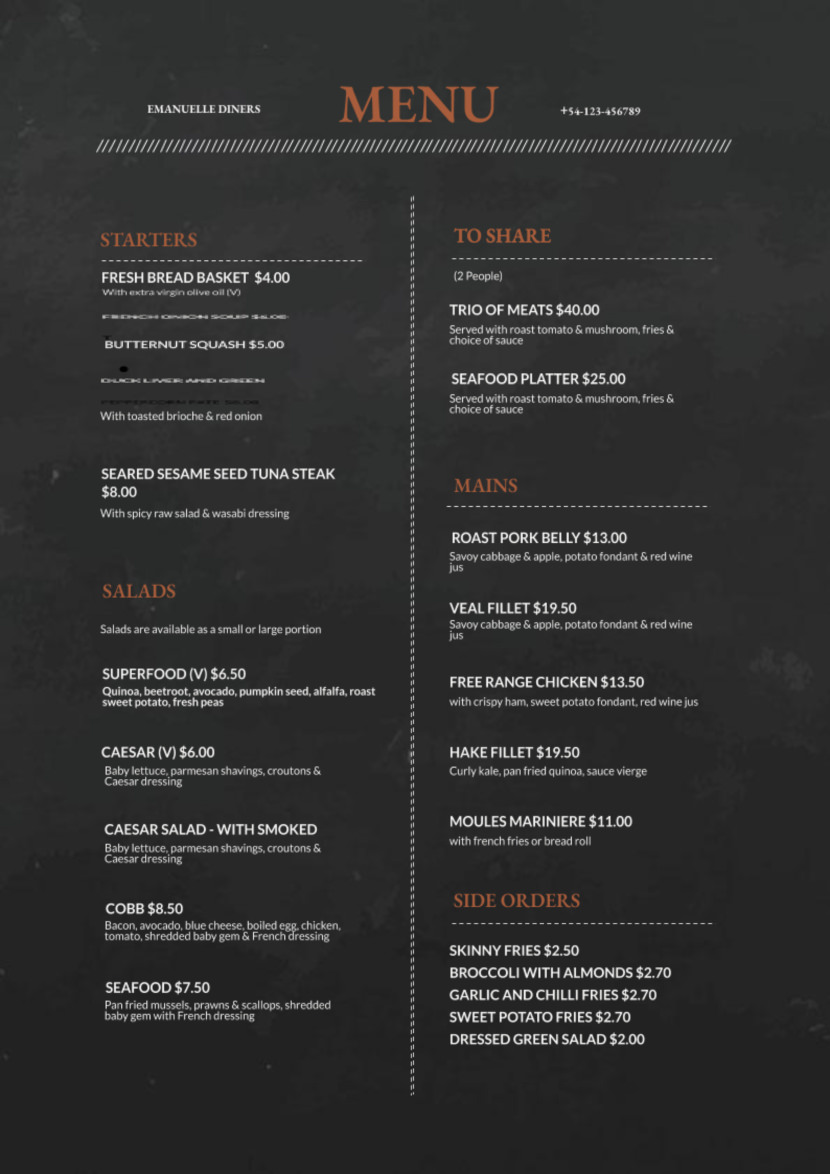 chalkboard Free Simple Menu Templates For Restaurants