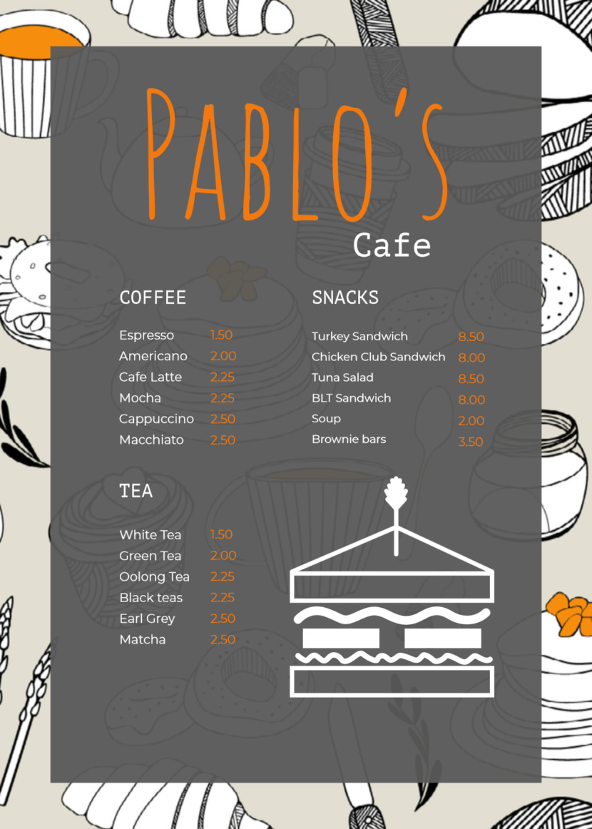 sandwich cafe Free Simple Menu Templates For Restaurants