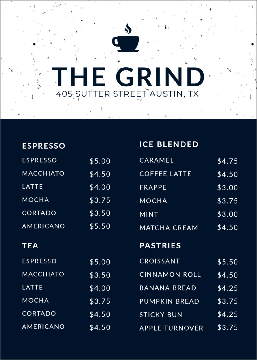 coffee drinks Free Simple Menu Templates For Restaurants