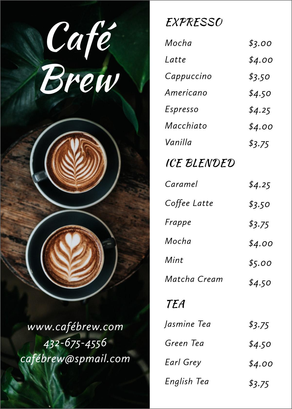21 Free Simple Menu Templates For Restaurants, Cafes, And Parties Inside Free Cafe Menu Templates For Word